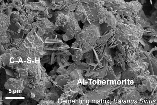 Fotografía al microscopio electrónico del hormigón (Marie Jackson)