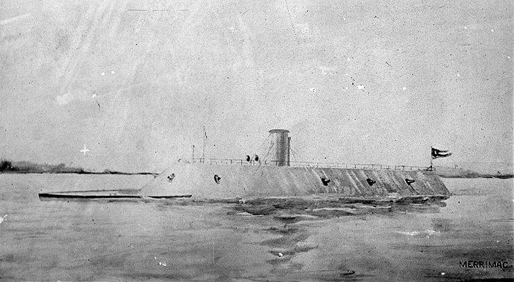 El confederado CSS Virginia, un buque de guerra blindado que puso en aprietos a los unionistas