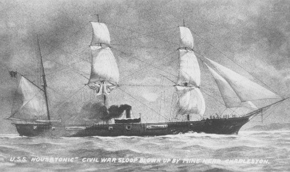 El USS Housatonic,una potente corbeta armada con 16 cañones hundida por el Hunley