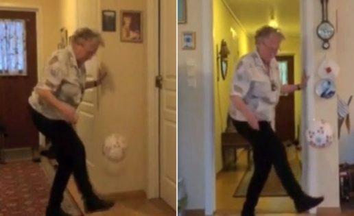 Abuela de 90 años asombra con su dominio del balón