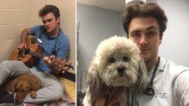 Veterinario le canta a un perro para calmarle antes de ser operado