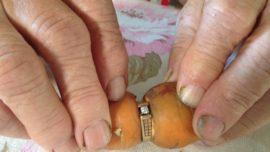 Una mujer de 84 años perdió su anillo de compromiso en el jardín y 13 años después lo encuentra en una zanahoria
