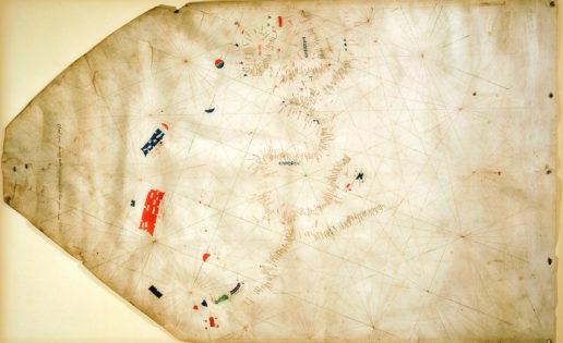 """El mapa del nuevo mundo, Pizzigano. """"Los antiguos reyes del mar"""", al oeste de las Azores."""