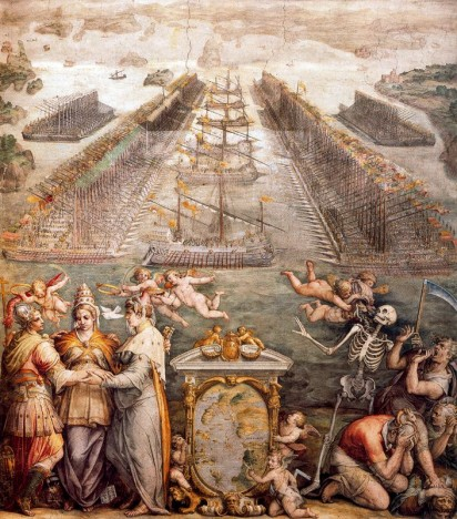 he opposing fleets of the Turks and the Holy league at Lepanto. Fresco. Sala regia del Vaticano. Obra de Giorgio Vasari.