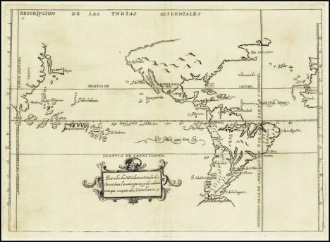 Antonio de Herrera y Tordesillas, mapa general de América, el Océano Pacífico y la parte oriental de Asia, desde su Descripcion de las Indias Occidentalis, edición 1726