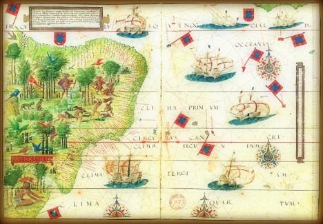 Brazil,siglo XVI.Atlas Miller,1519.Cartógrafos Pedro y Jorge Reinel,Lopo Homem.Miniaturista,António de Holanda.