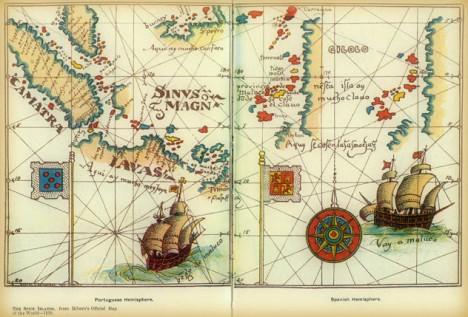 Diego Ribero, 1529.Delimitación del trazado