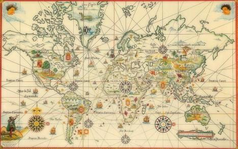 Ilustración, mapa de viajes que indica el tratado.