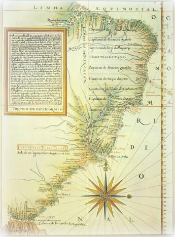 Luís Teixeira, 1574. División del Brasil en capitanías hereditarias. La línea de Tordesillas está desplazada diez grados más al oeste.