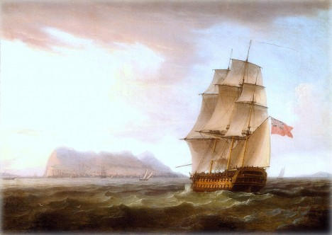 A British Man of War before the Rock of Gibraltar, obra de Thomas Whitcombe.