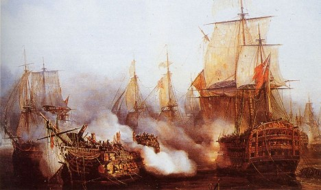 Redoutable_Dismasted_by_HMS_Victory_at_Battle_of_Trafalgar_1805