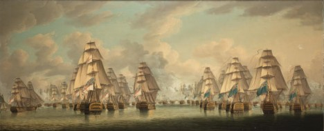 Robert Dodd (British, 1748-1815) The Battle of Trafalgar – the two British columns going into action;
