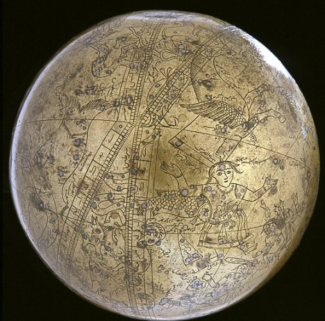The famous celestial globe of Muhammad Salih Tahtawi is inscribed with Arabic and Persian inscriptions, completed in the year 1631.