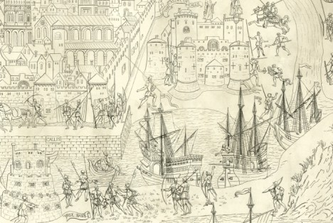 Detail from the departure of King Henry VIII from Calais in July 1544