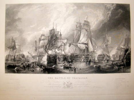 after-stanfield-c1840-lg-folio-antique-print.-the-battle-of-trafalgar.-ships-[2]-52175-p