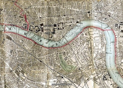 19th century Map of London Docks, Wapping and Shadwell