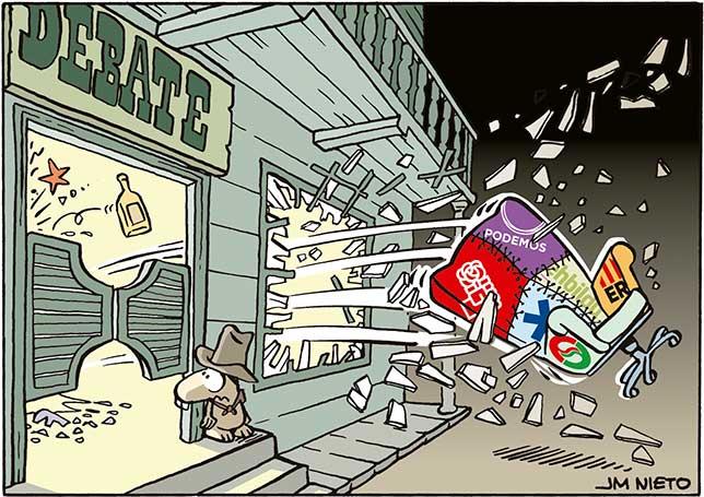 """Vuelan las sillas en el """"Saloon"""" electoral"""