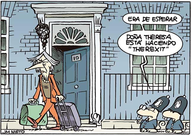 """Theresa May y un par de flemáticos """"bobbies"""""""
