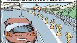 Balizas para llevar el tráfico al carril de la izquierda