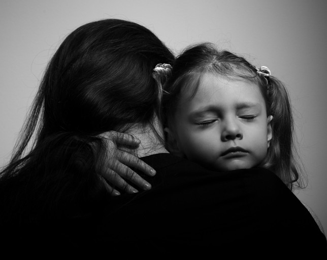 Depression Daughter Hugging Her Mother With Sad Face. Closeup Po