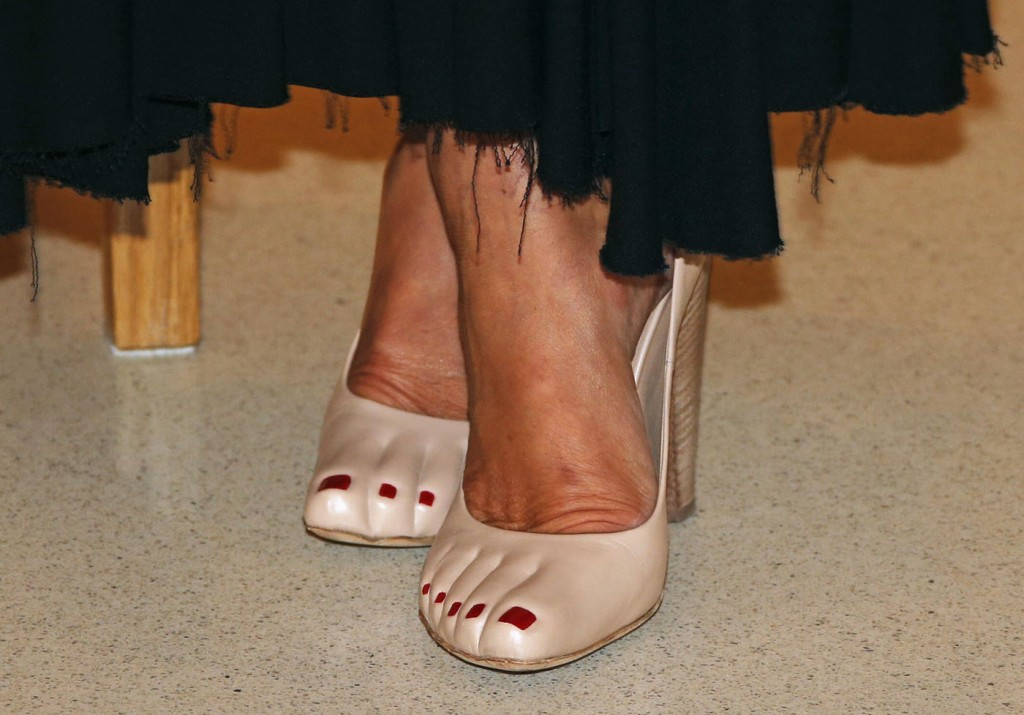 The shoes of Princess Caroline of Hanover are seen at the fundraising dinner for the new national museum, in Monaco