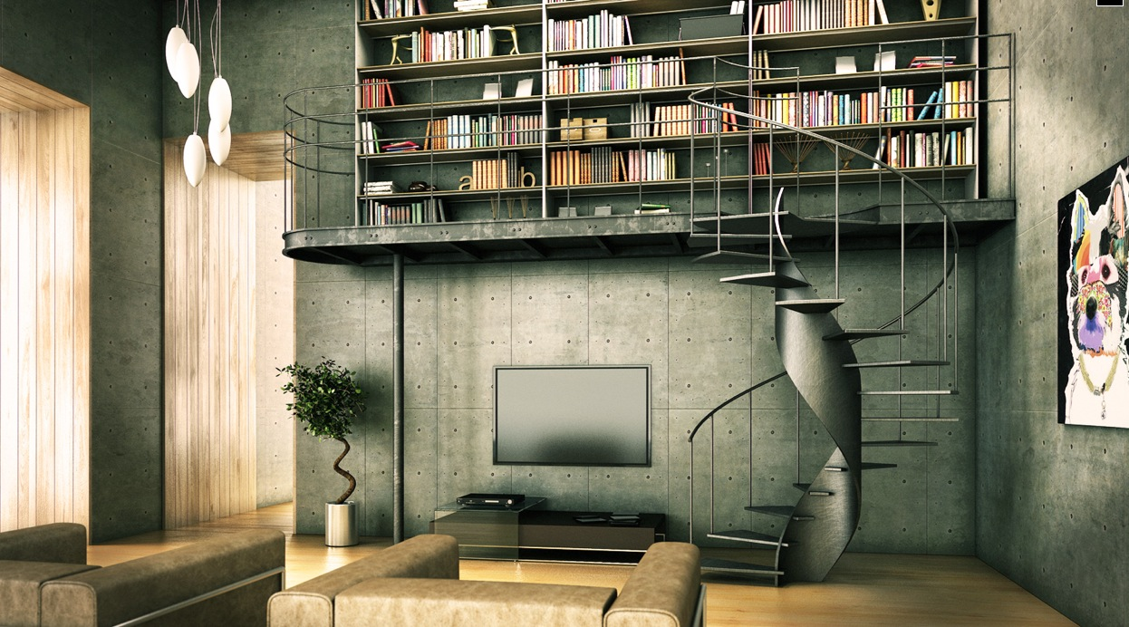 Awesome-Bookshelf-Ideas-For-Home-Library-with-Steel-Home-Interior-and-Amazing-Stairs-and-a-Beautiful-Painting