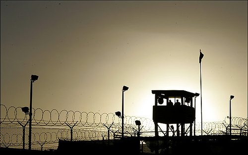 Troops stand guard at Camp Delta in Guantanamo Bay