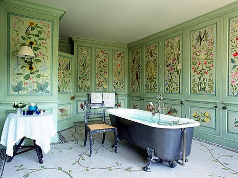 architectural-digest-bathrooms-with-flower-pattern-wall