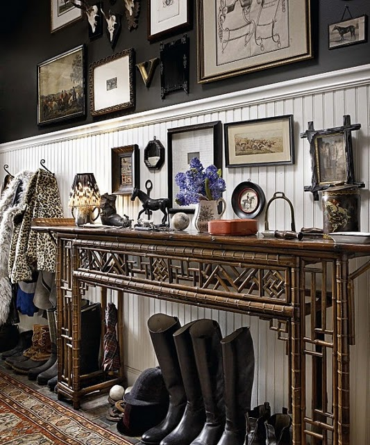 console-foyer-black-walls-decorating-ideas-wellies-art-gallery-decor-english-jayson-home