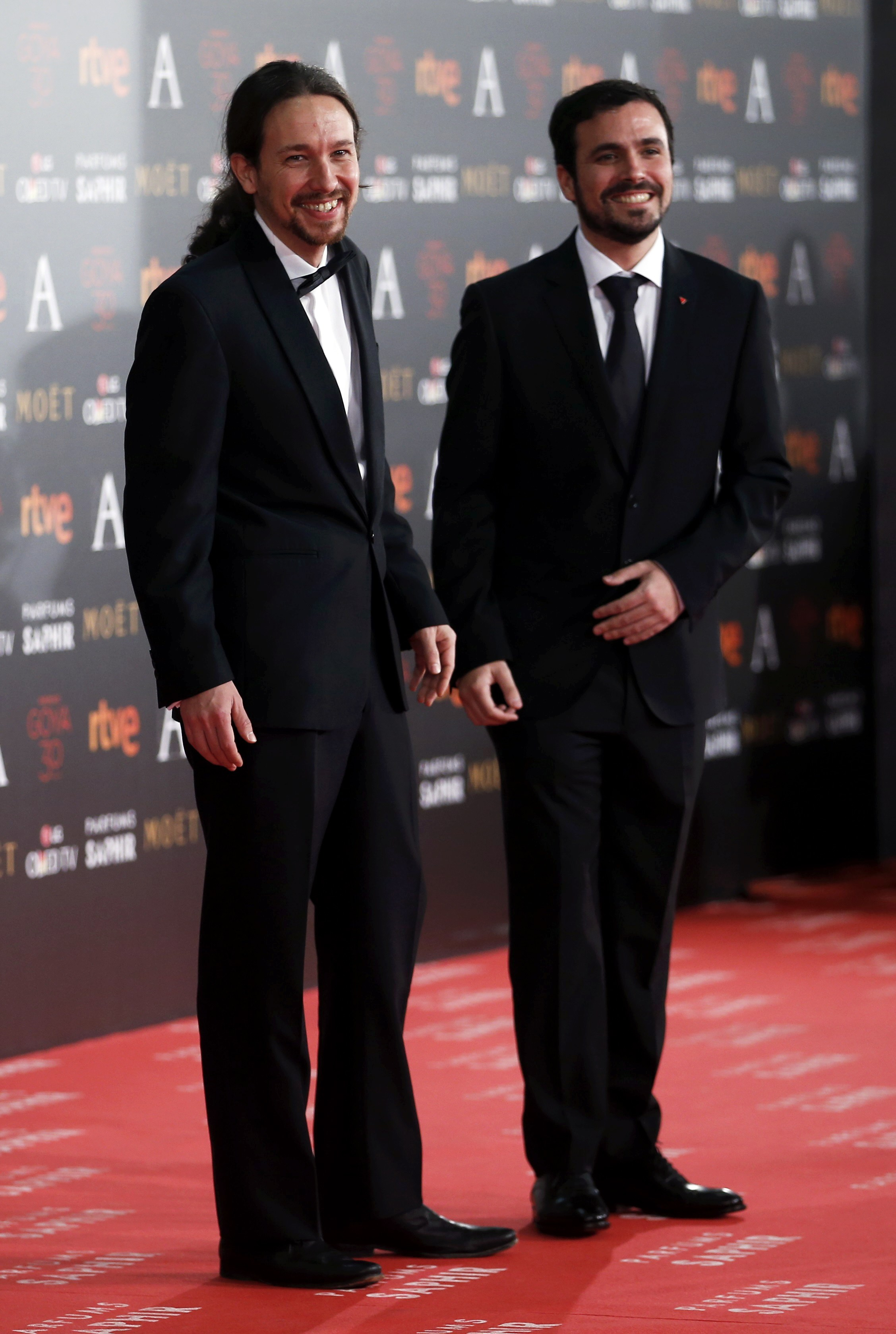 Podemos leader Iglesias and Izquierda Unida leader Garzon pose on the red carpet before the Spanish Film Academy's Goya Awards ceremony in Madrid