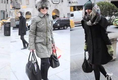 Fashionistas en la nieve de Manhattan