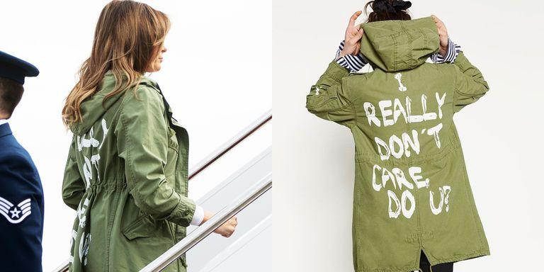 Melania y su chaqueta con mensaje laboratorio de estilo for Design a plane online