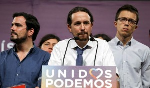 Podemos (We Can) party leader Pablo Iglesias gives remarks on results in Spain's general election in Madrid