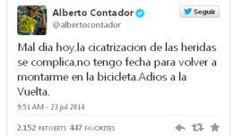 Alberto Contador no correrá la Vuelta Ciclista a España