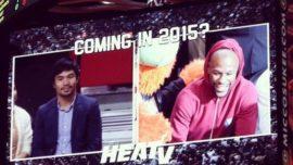 Floyd Mayweather y Manny Pacquiao boxeo en el baloncesto