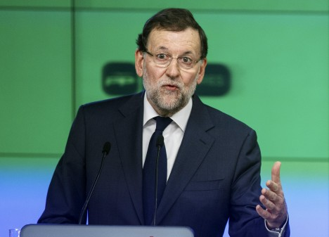 Spanish Prime Minister Rajoy speaks during a news conference at the People's Party (PP) headquarters in Madrid