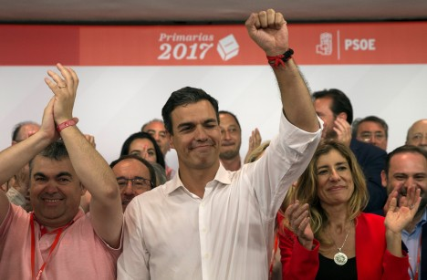 Socialists' Pedro Sanchez celebrates victory as he gets elected as the party's leader in Madrid, Spain