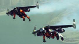 Dos hombres pájaro sobrevuelan Dubái con sus mochilas propulsoras