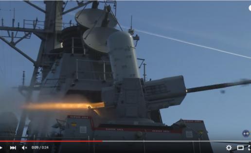 Un destructor de EE.UU. prueba su nuevo sistema de misiles SeaRAM en Huelva