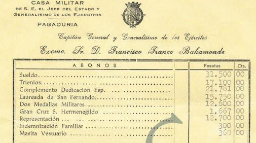 La nómina militar de Franco en 1969: 95.212 pesetas (con donativo de 500 ptas. a Falange)