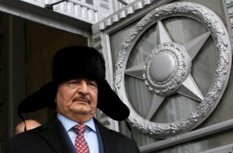 General Khalifa Haftar, commander in the Libyan National Army (LNA), leaves after a meeting with Russian Foreign Minister Sergei Lavrov in Moscow, Russia, November 29, 2016. REUTERS/Maxim Shemetov/File Photo General Khalifa Haftar, commander in the Libyan National Army (LNA), leaves after a meeting with Russian Foreign Minister Sergei Lavrov in Moscow, Russia, November 29, 2016