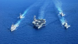 La fragata Méndez Núñez se prepara para acompañar a un portaaviones de EE.UU. en 2019