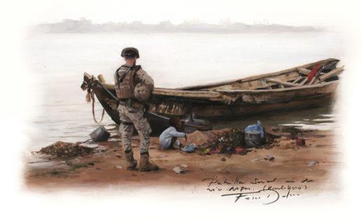 Los bocetos de Ferrer-Dalmau sobre los soldados españoles en Malí
