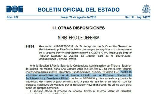 Dos recursos contra Defensa por no continuar con las oposiciones a psicólogo militar