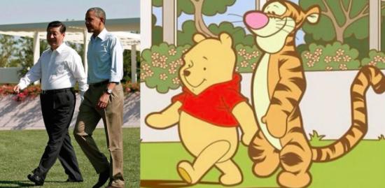 Tras este paseo de Xi Jinping con Obama en 2013, se le empezó a comparar con Winnie The Pooh.