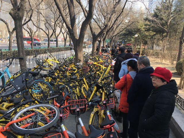 Debido a la falta de civismo que hay en China, cada uno deja la bici donde le da la gana sin importarle el prójimo.