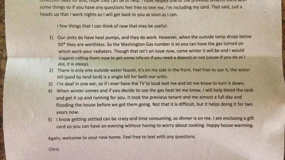 ¿Es este el mejor vecino del mundo?: la mejor carta de bienvenida de un inquilino