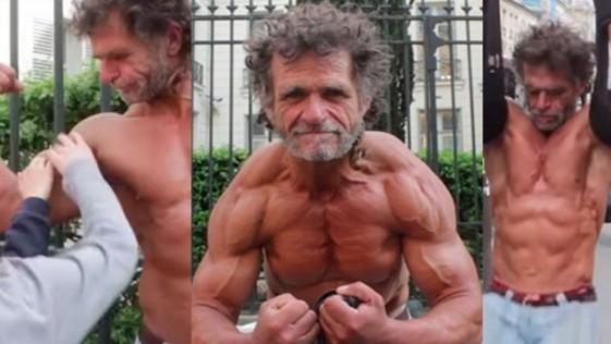 Un mendigo fisicoculturista impresiona en Francia