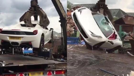 Destruyen un Ferrari 458 Spider de un millonario por no tener seguro