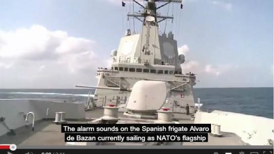 ¡Zafarrancho! 4 cazas franceses atacan a la fragata «Álvaro de Bazán» (simulacro)
